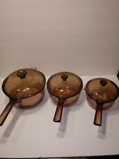 6 Pc Corning Visions Cookware 1L 1.5L 2.5L Amber Saucepan Set with Lid