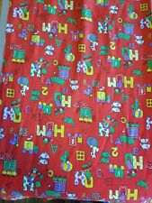 Romper Room Print Vintage 1970S? Thin Corduroy Fabric Red Cute Wamsutta 5Yds
