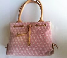 Dooney & Bourke Logos Gorgeous Pink  Canvas & Tan Leather Medium Tote Handbag