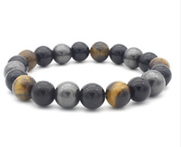 10mm African Roar Natural Tiger Eye Obsidian Magnetic Round Bracelet Bangle