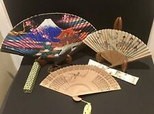 Vintage Oriental Asian Folding Fan Lot Of 3 - Japan, Korea, China