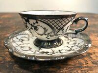 Vintage SILVER OVERLAY Porcelain TEA CUP & SAUCER Floral ANTIQUE Dish DEMITASSE