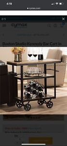 Baxton Studio Kennedy Bar Cart in Distressed Oak and Antique Black