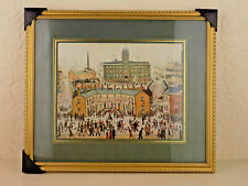 L S Lowry VE Day Celebrations Mounted and Framed Art Print NEW Gold Colour Frame