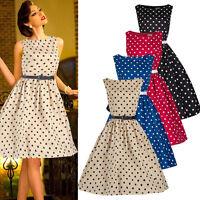 Vintage Womens Pin Up Rockabilly Dress Polka Dot 50's Flared Swing Pleated Skirt