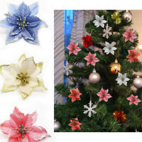 10pcs Poinsettia Decor Christmas Tree Flower Xmas Gift Wedding Glitter Ornament