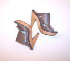 $120 LUXURY REBEL Womens Wood Platform Olive Leather high heel sandals Sz 40 B