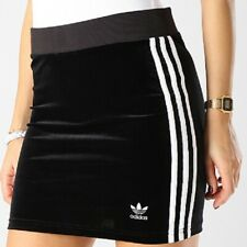 Adidas Originals 3Stripes Mini Velour Black Skirt Size UK 10,12,16,18,20 New 770