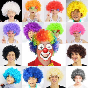 Multi Color Afro Wig Clown Disco Circus Costume Curly Hair Wig Adult Child Xmas