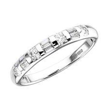 0.50 CT Bar Set Runde & Baguette Schnitt Diamant Halb Eternity Ring in 950 Platin