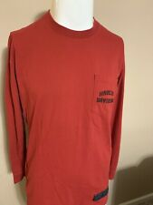HARLEY DAVIDSON Red Front Pocket Long Sleeve Mens Motorcycle T Shirt Medium M