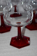 Vintage Ruby Red Hexagon Stem Goblets - set of 8 - VERY UNUSUAL! PERFECT SHAPE!