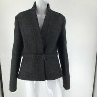 Jil Sander Womens Suit Jacket Black Wool Blend Tweed Belted Lined Long Sleeve 4