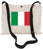 Italian Flag Canvas Musette Bag 40x30cm, 150cm Long black adjustable strap