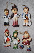 Kurt Adler Christmas Ornaments Set 6 Figural Children Holiday Vintage Plastic