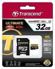 TRANSCEND MICRO SDHC 95MB 85MB/WRITE 32GB UHS-I U3 CLASS 10 633X ULTIMATE