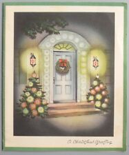 Vintage Greeting Card Christmas House Front Door Entrance Decorated TreesL24