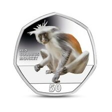 2018 Red Colobus Monkey 50p Coin From The Falkland Islands