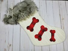 Cable Knit Sweater Dog Faux Fur Trim/Plaid & Pom Poms Holiday Stocking - NWOT