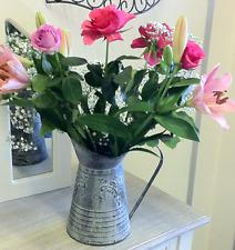 Large Antique French Grey Vintage Style Metal Jug Pitcher Vase Flower Wedding