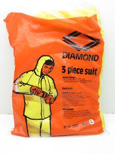 Diamond 1250 Vinyl 3-Piece Weather Rain Suit Size L, Bib Overalls, Jacket Hood
