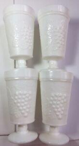 Milk Glass Pedestal Drinking Glasses Set 4 Grapes Leaf Design Goblet Farmhouse