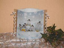 Tischlicht/Windlicht Pinguine im Schnee