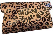 Leopard Print Clutch Bag Brown Animal Sparkly Gold Evening Bag Glittery Handbag