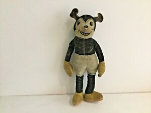 """RARE ANTIQUE TOY DEANS RAG BOOK MICKEY MOUSE-WIRED LIMBS-DEANS LABEL-8""""-C.1934"""