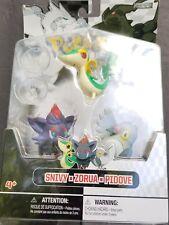 Pokemon Figure Multipack B&W Series #1 Grass Type Starter Snivy Pidove Zorua
