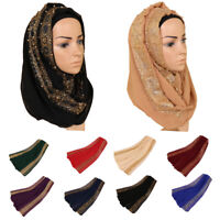 Women Golden Pearls Scarf Muslim Hijab Maxi Shawl Wrap Scarves Islamic Headcover