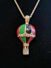 Enameled Hot Air Balloon Pendant Necklace with Rhinestones
