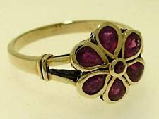 R290 Genuine 9ct SOLID Yellow Gold Natural RUBY Daisy Blossom Flower Ring size N