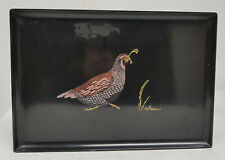 Vintage Mcm Mid Century Modern Couroc Tray Quail Decoration Inlaid Lacquer