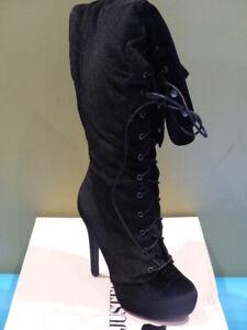 JUST FAB DASHIELLA BLACK VELVET US WOMEN 9 EU 40 HEELED OVER THE KNEE BOOT