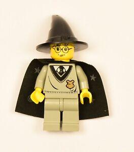 Lego minifigure hp035 Harry Potter, Hogwarts good cape, dusty hat, H a bit worn