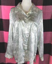 Victoria's Secret Pajama Top Button-Up Silky Sleep Shirt Leopard Animal Print XL