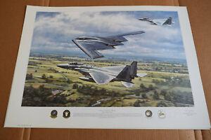 Aviation Art Print - F-15's RAF Lakenheath & B-2 Spirit   Ronald Wong