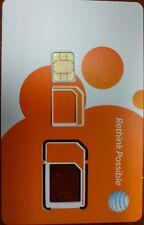 At&T Prepaid Nano 4G Lte sim. New Unactivated. 3 In 1 . Triple Cut Sim