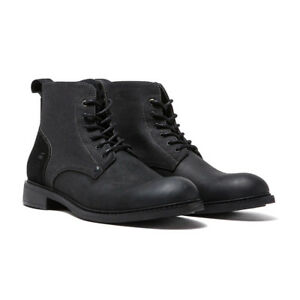 G-STAR Warth Mid Men Leather Denim Lace Up Boots Black (D06376-8690-990)