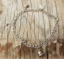 Cute Sterling silver charm bracelet thimble button coin horseshoe wishbone bell