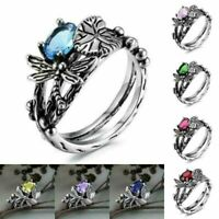 925 Silver Topaz Dragonfly Ring Wedding Jewelry Wholesale Engagement