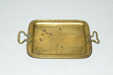 "New ListingVintage Small Brass Tray Trinket Dresser Dish with Handles 9"" x 5"" Antique Decor"