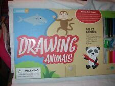 DRAWING ANIMALS LEARN TO DRAW ART KIT INSTRUCTION CRAYONS PAPER COLORED PENCILS