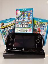 nintendo wii u - 32 gb console + 4 games inc mario kart - complete setup