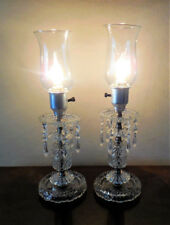 Vtg Pair Beaded Glass Hurricane Lamps w/Crystal Prisms ~ Mid 20th Century