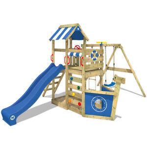 WICKEY Spielturm Klettergerüst SeaFlyer mit Schaukel & blauer Rutsche, Baumhaus