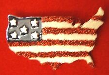 New listing Usa American Flag Us States Map Shaped Brooch Pin, Silver Pl, 4th of July, New