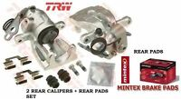 FOR FORD GALAXY 2006 > REAR LEFT + RIGHT SIDE BRAKE CALIPERS + BRAKE PADS SET