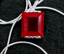 14X10 Rectangle Lab Ruby Corundum Sterling Pendant Gemstone Necklace FREE Chain